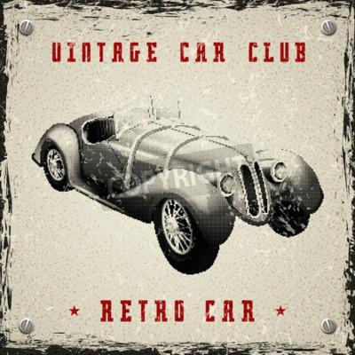Póster Diseño del cartel del coche del vintage con la textura del punto de semitono de la impresión del pixel