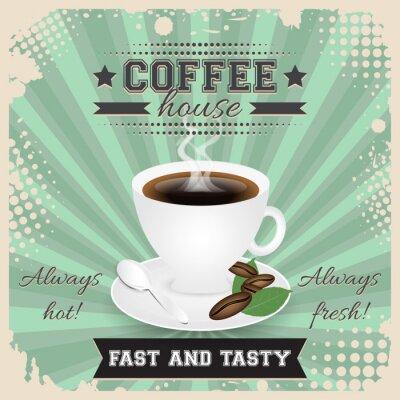 Póster Diseño del cartel del grunge de la casa de café con efecto de semitono. Taza de café, cuchara, granos de café, placa, hojas y vapor.