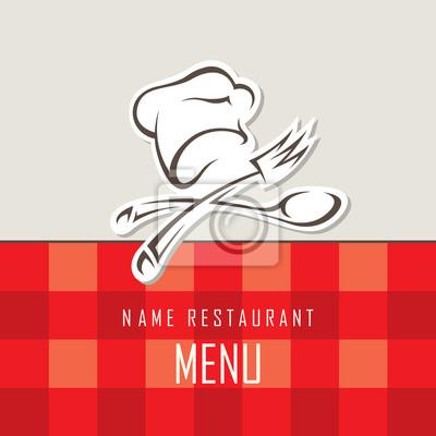 Diseño del menú con el cocinero y utensilios de cocina carteles para ...