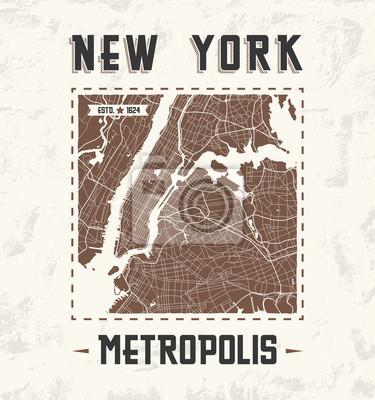 Póster Diseño gráfico de la camiseta del vintage de Nueva York con el mapa de la ciudad.