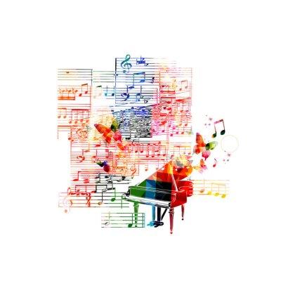 Póster Diseño Piano colorido