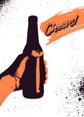 Póster Diseño tipográfico del cartel del grunge del estilo del vintage de la cerveza. La mano sostiene una botella de cerveza. Ilustración vectorial retro