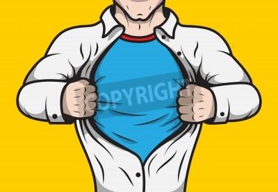 Póster Disfrazado cómic hombre héroe adulto amparo abrir la plantilla de la camisa