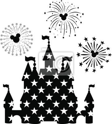 Póster Disney Castle Fireworks, EPS 10,  disney, new year,  mickey mouse head,