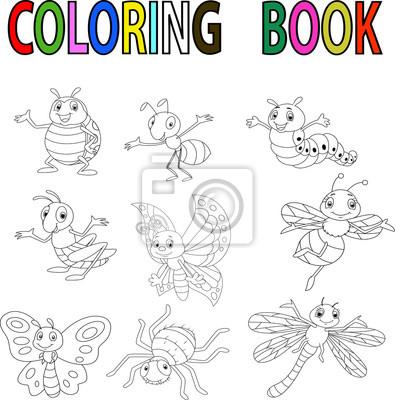 Divertidos dibujos animados de libro para colorear de insectos ...