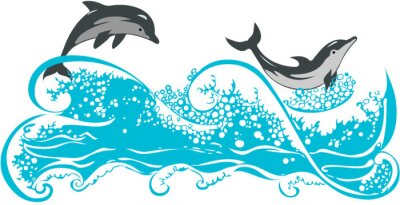 Póster Dolphins jumping in waves