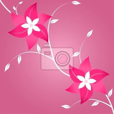 Dos flores sobre fondo de color rosa