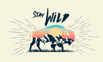 Póster Double exposure effect buffalo bison silhouette with mountains landscape and stay wild caption. T-shirt print design. Vector illustration.