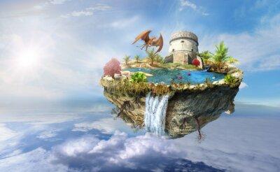 Póster dragón isla vuela en el espacio