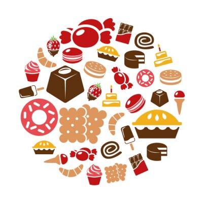 Póster dulces iconos en círculo