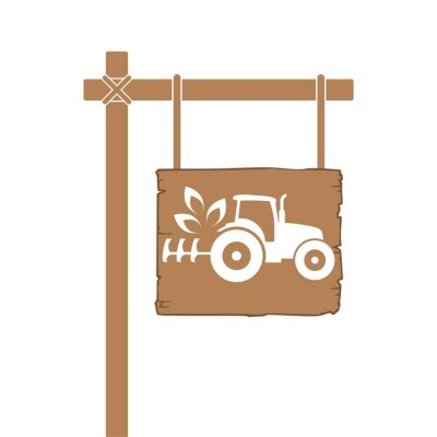 Eco Tractor icon isolated on white background. Wooden board sign