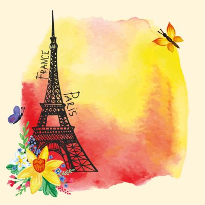 Póster Eiffel tower,Watercolor stain,Narcissus bouquet.Paris card
