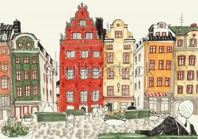 Póster Ejemplo dibujado mano colorida de las casas de Estocolmo, bosquejo de la calle de la ciudad europea. Tinta y marcadores.