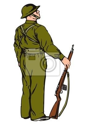 Ejército en guardia con el rifle