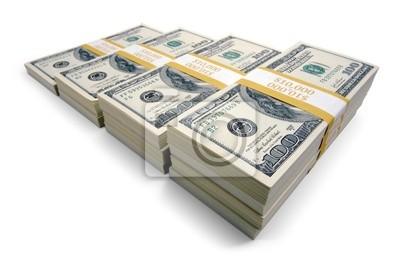 El aumento de las pilas de billetes de cien dólares en un fondo blanco.