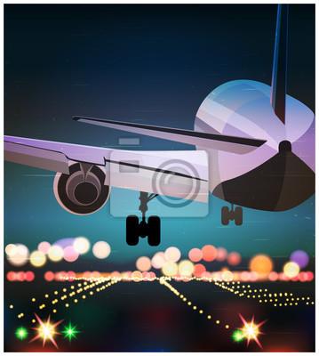 El avión de pasajeros está aterrizando el cartel viejo