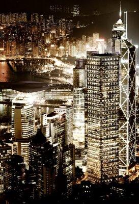 El centro de Hong Kong en la noche