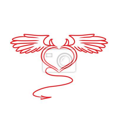 El Corazón Rojo Y Blanco Con Una Cola Alas Y Cuernos Tatuaje