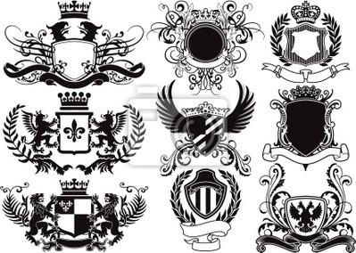 el escudo de armas, escudos y elementos heráldicos de vectores