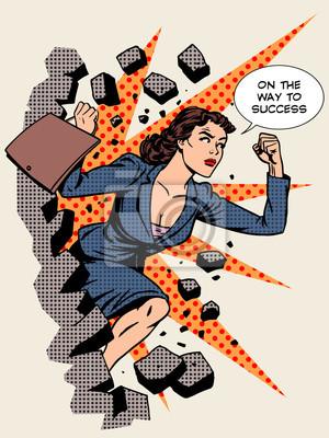 El éxito del negocio empresaria rompe la pared