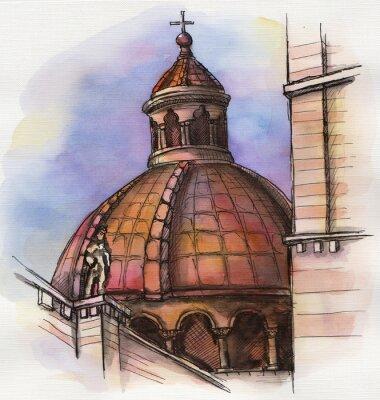 Póster El famoso edificio de Santa María de Florencia mano dibujo acuarela