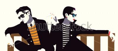 Póster El hombre de moda y la mujer en el estilo pop art.