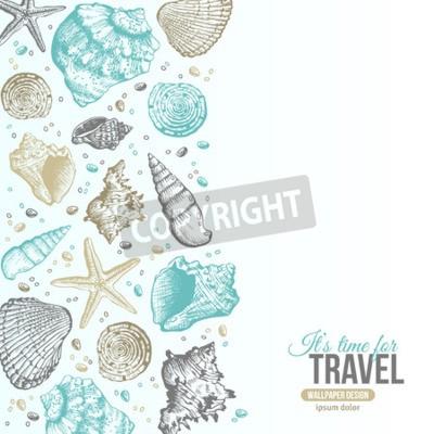 Póster El mar del verano descasca el diseño de la postal. Vector de fondo con conchas marinas, estrellas de mar y arena. Estilo dibujado a mano del aguafuerte. Lugar para su texto.