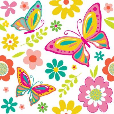 Póster El modelo de la primavera con las mariposas lindas convenientes para el abrigo del regalo o el fondo del papel pintado. EPS 10 y HI-RES JPG incluido