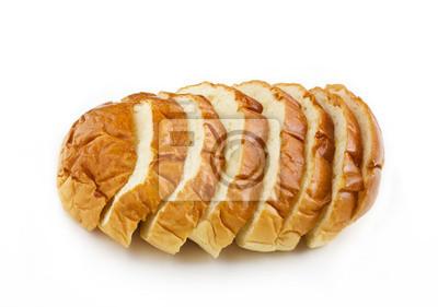 El pan del corte de la rebanada de pan aislados en el fondo blanco
