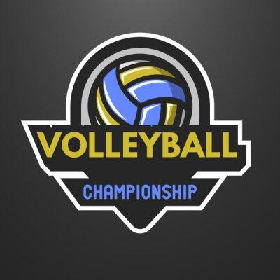 Póster El voleibol se divierte insignia, etiqueta, emblema.
