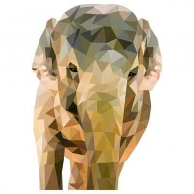 Póster Elefant aus Dreiecken geformt auf weißem Hintergrund im quadratischen Formato