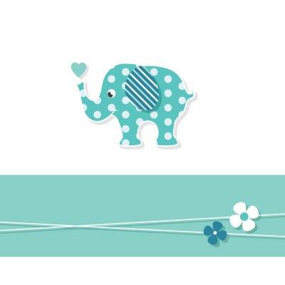 Póster Elefante bebé azul tarjeta de felicitación