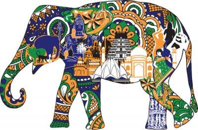 Póster elefante con símbolos indios