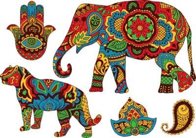 Póster elefante, tigre, Butt y el loto, pintado a mano en el estilo de mehendi
