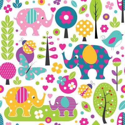 Póster Elefantes lindos, mariquitas, mariposas y aves en un patrón de bosque colorido