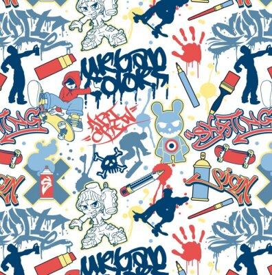 elementos de graffiti urbano patrón de vectores sin fisuras