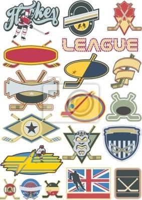 Elementos de Hockey sobre hielo y etiquetas