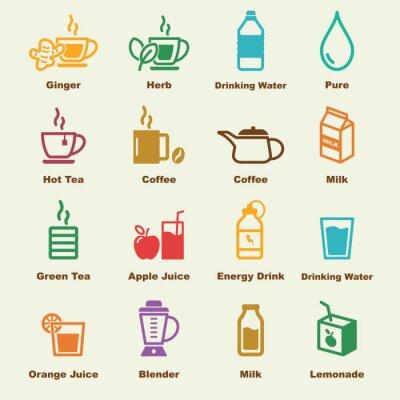 Póster Elementos de la bebida saludable