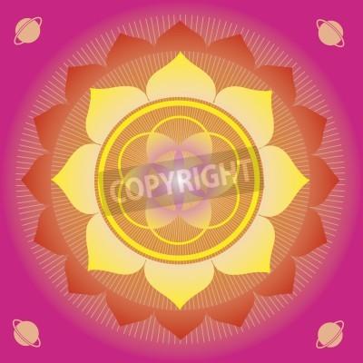 Póster elementos de la flor y mandalas con sentido esotérico para la práctica del yoga y el diseño para la salud y el bienestar