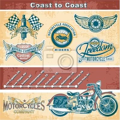 Elementos de la motocicleta de la vendimia