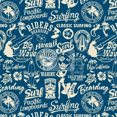 elementos de surf patrón transparente