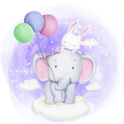 Póster Elephant and Rabbit Celebrate Birthday