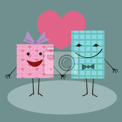 Embalaje de regalo la mano y sonriendo en el corazón de fondo