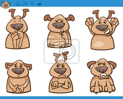 Emociones Perro De Dibujos Animados Conjunto Carteles Para La Pared