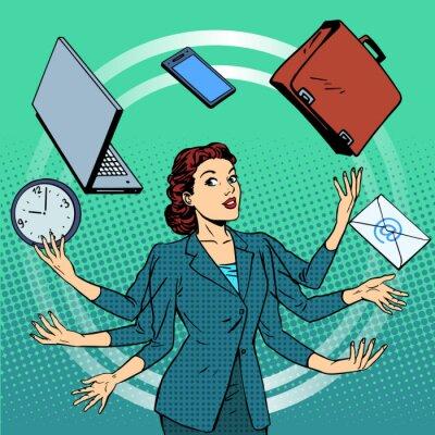 Empresaria muchas manos la gestión del tiempo idea de negocio