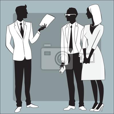 Empresario cabeza da el trabajo a los empleados