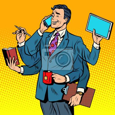 Empresario exitoso de negocios multitarea