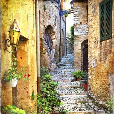 Póster encantadoras calles antiguas de mediterráneo
