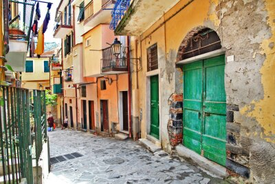 Póster encantadoras calles mediterráneas, Cinque Terre, Italia