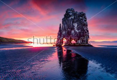 Póster Enorme pila de basalto Hvitserkur en la costa este de la península de Vatnsnes. Colorido amanecer de verano en el noroeste de Islandia, Europa. Belleza del fondo del concepto de naturaleza.